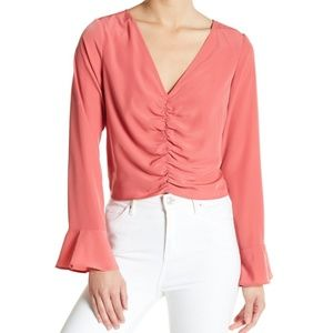 Free Press Ruched Bell Sleeve Top